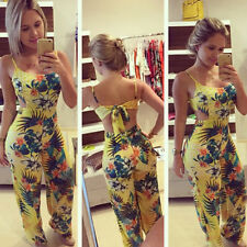 Women' s Casual Hawaiian Sleeveless Halter Floral Jumpsuit Romper Playsuit