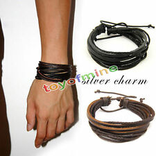 Fashion Women/Men Surfer Tribal Wrap Multilayer Genuine Leather Cuff Bracelet