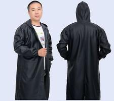 Mens Long Waterproof Raincoat Hooded Coat Windproof Rain loose plus size work