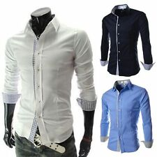 Fashion Mens Luxury Stylish Casual Dress Slim Fit T-Shirts Casual Long Sleeve GN