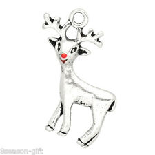 "Wholesale Gift Silver Tone Christmas Reindeer Charms Pendants 24x21mm(1""x7/8"")"