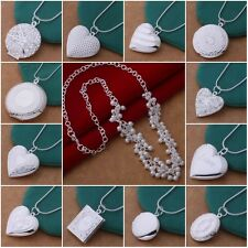 Lovers Valentine Gift Ladies 925Solid Silver Heart Pendent Necklace Chains + Box