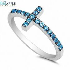 Petite Sideways Ladies Cross Ring Solid 925 Sterling Silver Blue Topaz CZ