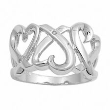 14MM Wide Triple Heart Ring Solid 925 Sterling Silver Russian CZ Valentines Gift