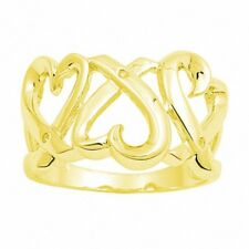 14MM Wide Triple Heart Ring Solid 925 Sterling Silver Yellow Gold Russian CZ