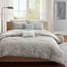 ELEGANT CLASSIC BLUE BROWN PAISLEY 5-PC COMFORTER SET KING CAL KING FULL/QUEEN