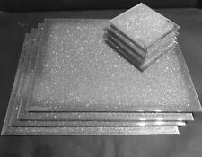 New bling glitter sparkle mirrored glass placemats set of 2,4,6 matching coaster