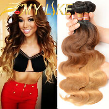 7A Malaysian Virgin Hair 1/3 Bundle Ombre 3 Tone Body Wave Human Hair Extensions