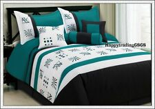 Turqoise White Black Embroid. 7pc* KING QUEEN Comforter Set + Valance +3 Cushion