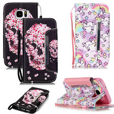 Fashion Unicorn/Flower Skull Style Cover Wallet Leather Case For Various Phones