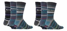 Kickers - 6 Pack of Mens Thin Colorful Cotton Rich Striped Crew Socks, 7 Styles