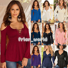 Fashion Women Ladies V Neck Long Sleeve Pleated Draped T-shirt Blouse Casual Top