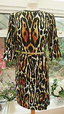 LIMITED EDITION FOR M&S LEOPARD PRINT SHIFT DRESS WITH BELT SIZE 14 BNWT