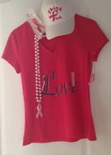 Lot of Pink Ribbon Breast Cancer Awareness T-Shirt, Pearl Necklace, Hat & Pin