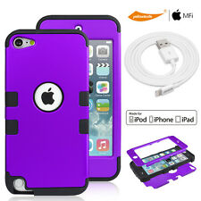 Hybrid Soft TPU Hard Back Case F iPod Touch 5 6 MFI Certified Sync Charger Cable