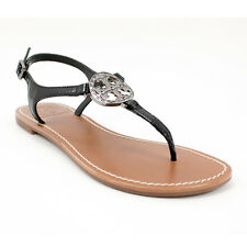 New Tory Burch Violet Leather Thong Sandals, Black