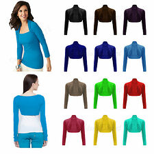 WOMENS LADIES PLAIN SHRUG LONG SLEEVE BOLERO SHRUG CARDIGAN LADIES TOP SIZE 8-12