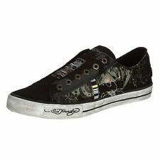 Ed Hardy LR Oakland Fashion Sneaker Shoes For Men Black Canvas & Rubber Sole New