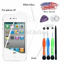 Apple iPhone 4S Front Outer Screen Lens Replacement Glass+Tools + UV Glue White