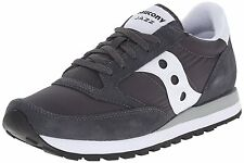 Saucony JAZZ ORIGINAL Mens Charcoal Grey Leather Nylon Casual Athletic Sneakers