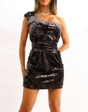 GUESS Marciano One Shoulder Velour Cocktail Short Dress Gray NWT XS S