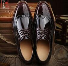 Mens oxford pointy toe patent leather dress formal brogue wingtip carving shoes