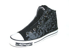 Ed Hardy Women's Highrise Black Fashion Sneaker Shoes Canvas & Rubber Sole New