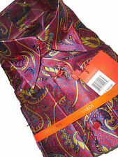 Mens Leonardi Shirt 441 Flushed Red Purple Yellow Swirl Designer High Collar