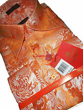 Mens Leonardi Cuffed Shirt 447 Orange Pearl Tropical Paisley Ultra High Collar