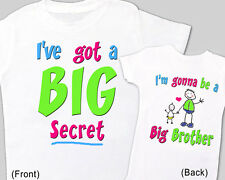 """BABY ANNOUNCEMENT Tee Big Brother """"I HAVE a BIG SECRET"""" T-Shirt print Front Back"""