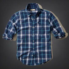 NWT Hollister by Abercrombie&Fitch Point Loma Shirt M XL Blue Plaid 100% Cotton