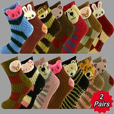 2 Pairs Ladies CUTE Animal CHUNKY Knitted Slipper LOUNGE Socks SIZE UK 4-7