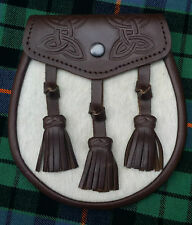 Men's Scottish Kilt Sporrans Semi Dress Celtic Embossing/Brown Leather Sporran
