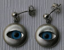 925 Sterling Silver Malta Greek Osiris Evil Eye Earrings Good luck Original