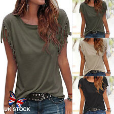Hot Womens Tassels Short Sleeve Loose T-Shirt Summer Casual Tops Blouse Cotton