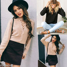 Women Girls Autumn Winter Pullover Short Knitted Fashion Elastic Sweaters Tops