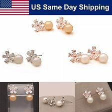 Women Fashion Pearl Crystal Flower Rhinestone Gold/Silver Earring Ear Stud