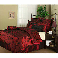 Adult Comforter Sets Sexy Queen Flocking Luxuy 7 Pc Bedding Bedroom King Red NEW