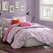 Bright & Modern Pink Paisley Reversible 5PC Comforter Set Girl FULL/QUEEN Twin