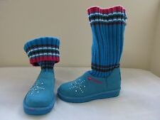 NEW Girls Skechers Twinkle Toes Bootsteps Light Up Boots 10416L Teal  67A
