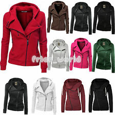 Womens Winter Zipper Jumper Tops Hoodies Hooded Sweatshirt Pullover Coat Jacket