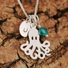 925 Sterling Silver Personalised Octopus Pendant Necklace & Initial + Birthstone