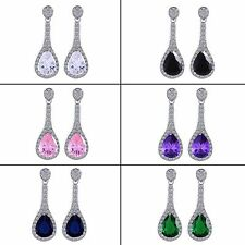 Wedding dangle earrings! 18k white gold filled Pear Sapphire pierced Earrings