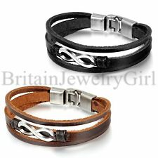 Charm Infinity Tri-layer Leather Men Unisex Cuff Wristband Friendship Bracelet