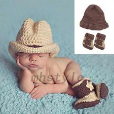 Newborn Baby Photography Prop Crochet Knitted Costume Cowboy Hat Boots Outfits