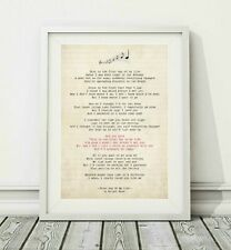 241 Bright Eyes - First Day Of My Life - Song Lyric Poster Print - Sizes A4 A3