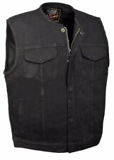 Men's SOA Style Collarles Denim Club Vest Black w/ Gun Pocket,Snap/ Zipper Front