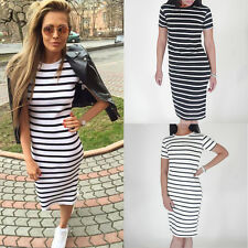 New Round Neck Striped Women Dress Slim Fit Bodycon Short Sleeve Dresses Casual