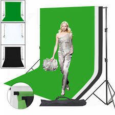 Photography Studio Black White Green Cotton Muslin Backdrop Background Stand Kit