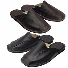 Mens Hand Made Calf Leather, Calfskin Slippers Flip Flops, Mules Brown And Black